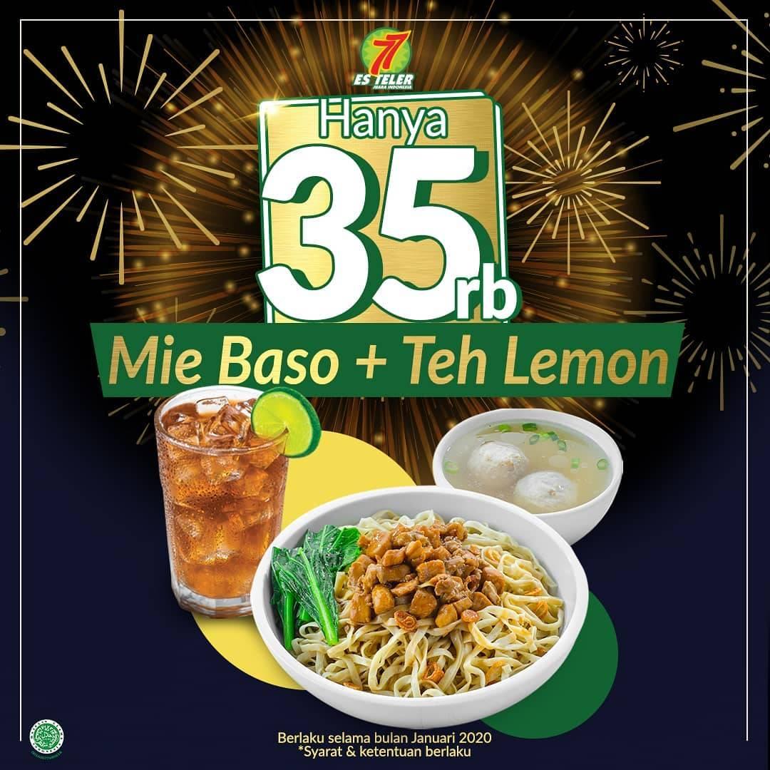 Es Teler 77 Promo Mie Baso + Teh Lemon Dengan Harga Rp.35.000