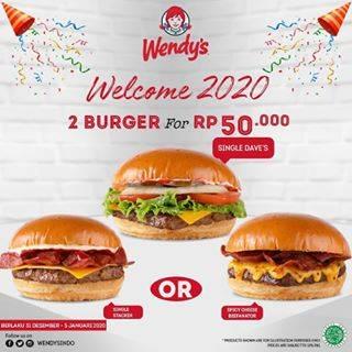 Wendys Promo Welcome 2020, Beli 2 Burger Cuma Rp.50.000