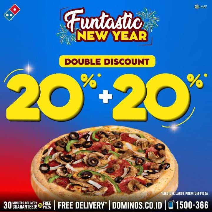 Domino's Pizza Funtastic Weekend, Double Discount 20% + 20%