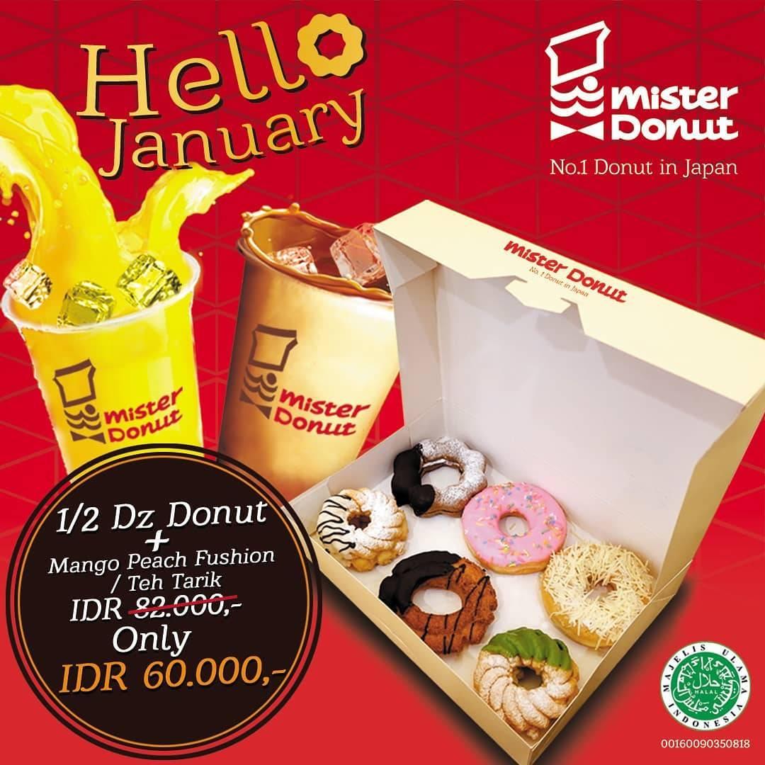 Mister Donuts Promo Hello January! Beli 6 Donat Gratis 1 Cup Minuman Pilihan