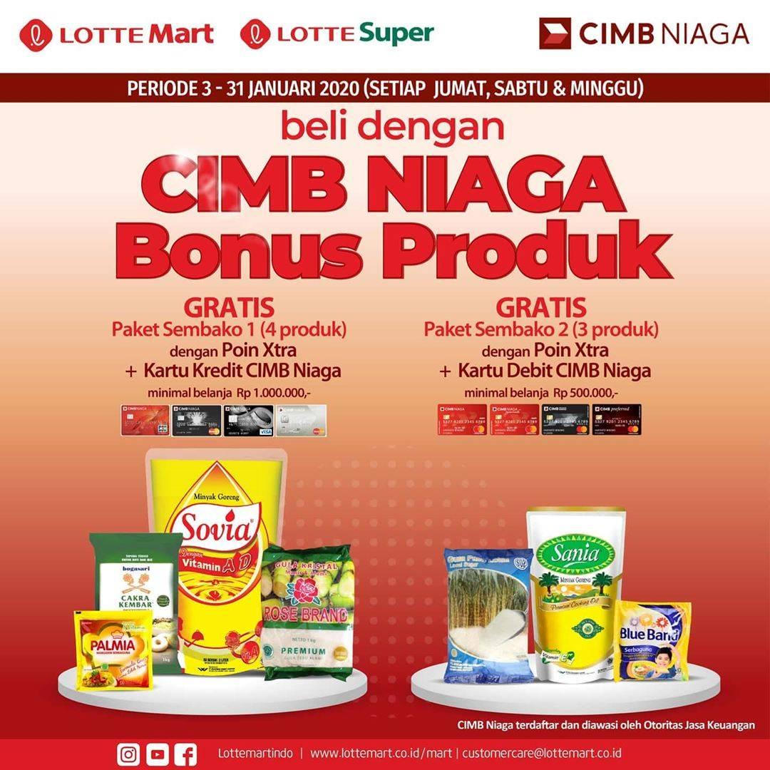 Lottemart Promo Gratis Paket Produk Sembako dengan Kartu CIMB Niaga