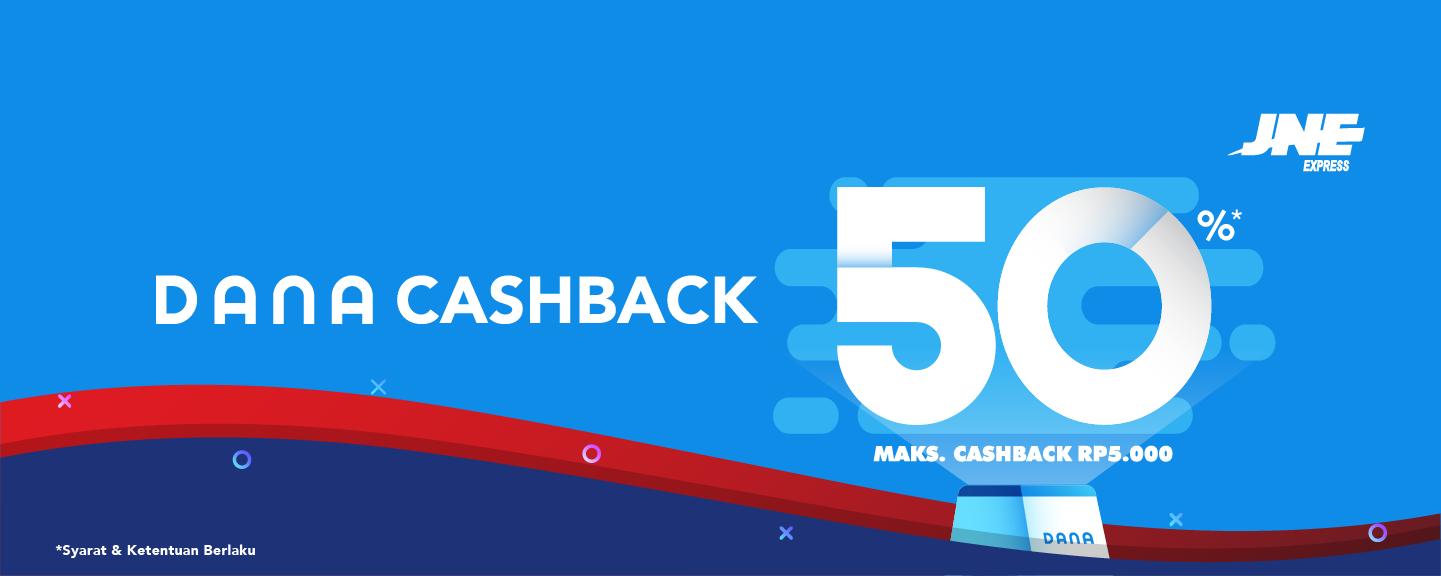 JNE Cashback 50% Dengan Dana