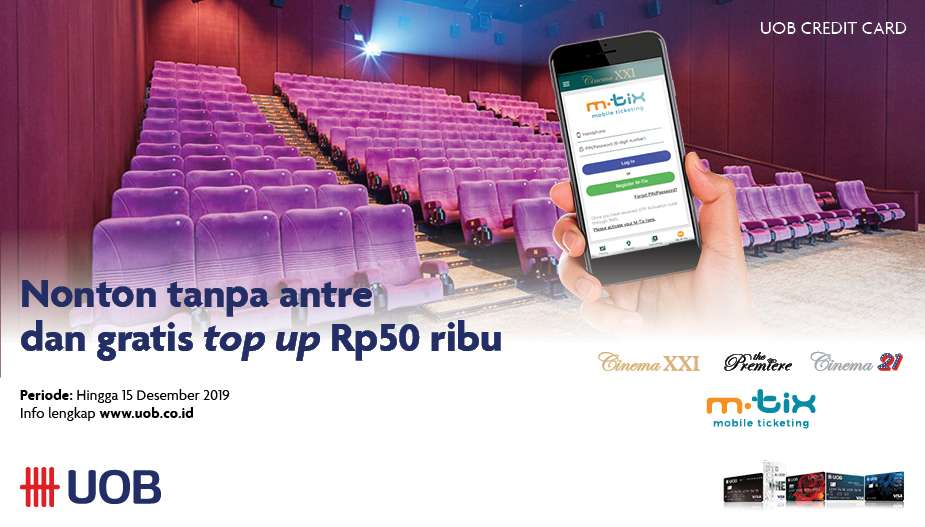Cinema XXI Promo UOB Card, Gratis Top Up Rp 50.000