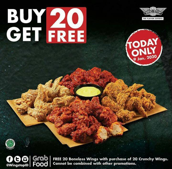 Wingstop Promo Spesial Only One Day, Buy 20 Get 20 Free.