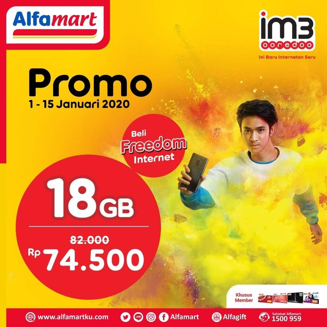Diskon Alfamart Promo IM3 Ooredoo, Beli Freedom Internet 18Gb Cuma Rp. 74.500