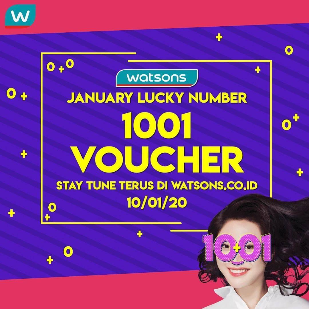 Watsons Promo January Lucky Number, Dapatkan 1001 Voucher Khusus Belanja Online
