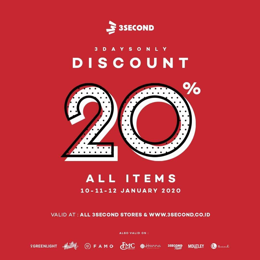 3Second Promo Jusami, Discount 20% All Items
