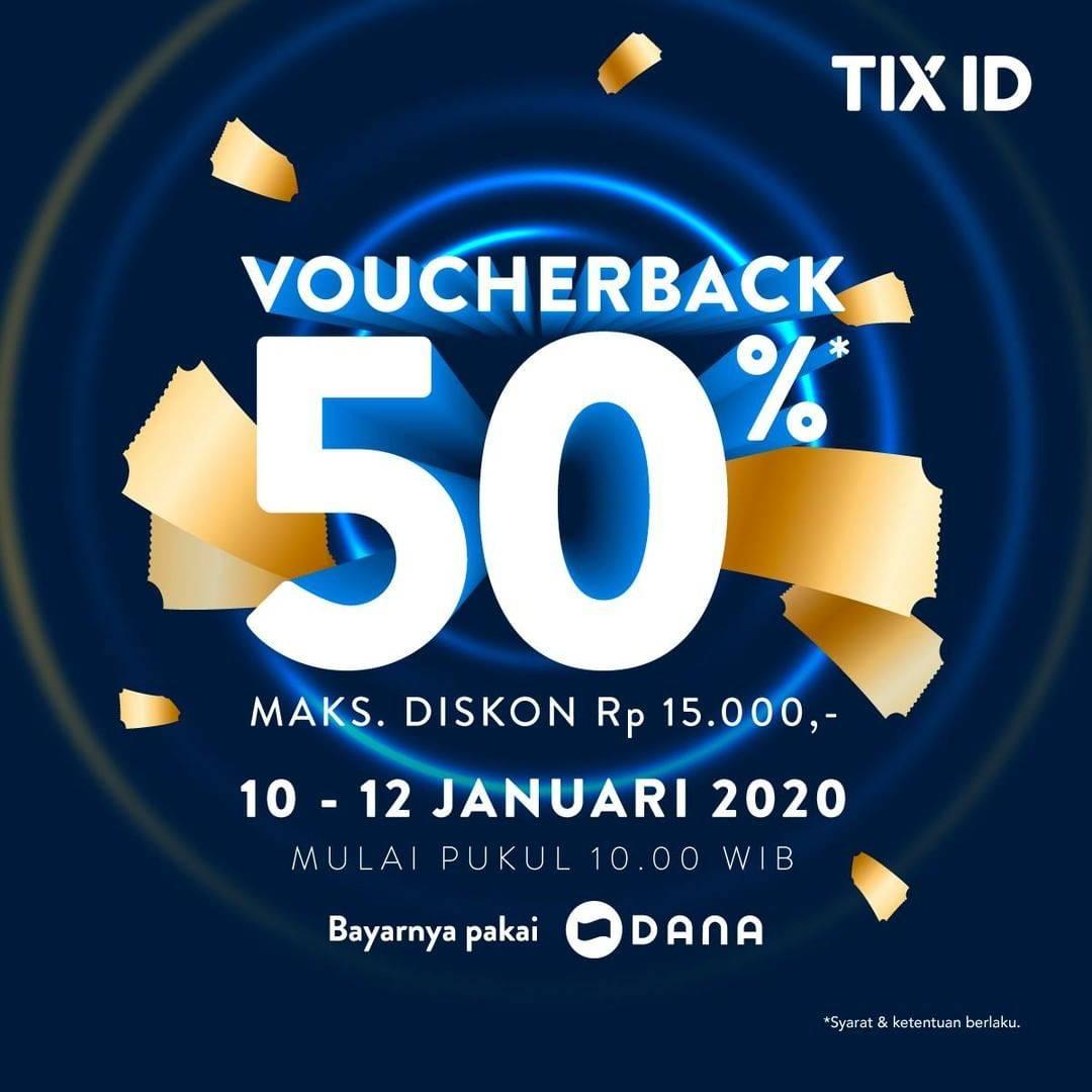 TixID Promo Cashback 50% Dengan Pembayaran Melalui Dana