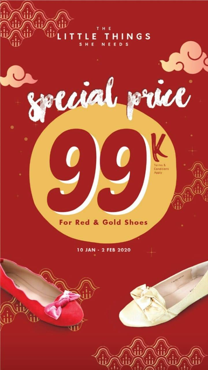 The Little Things She Needs Promo Special Price Rp. 99.000 For Red And Gold Shoes