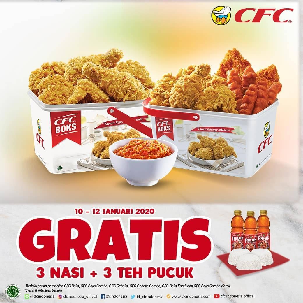 CFC Promo CFC Boks, Gratis 3 Nasi +3 Teh pucuk Harum Setiap Pembelian CFC Boks