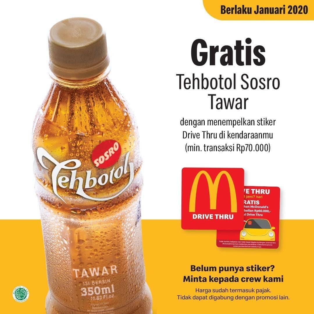 Diskon McDonalds Promo Gratis Teh Botol Sosro Tawar Untuk Pemilik Stiker VIP Drive Thru