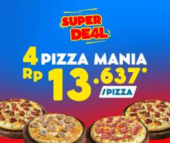 Domino's Pizza Promo Super Deal, Beli 4 Pizza Mania Cuma Rp. 54.545