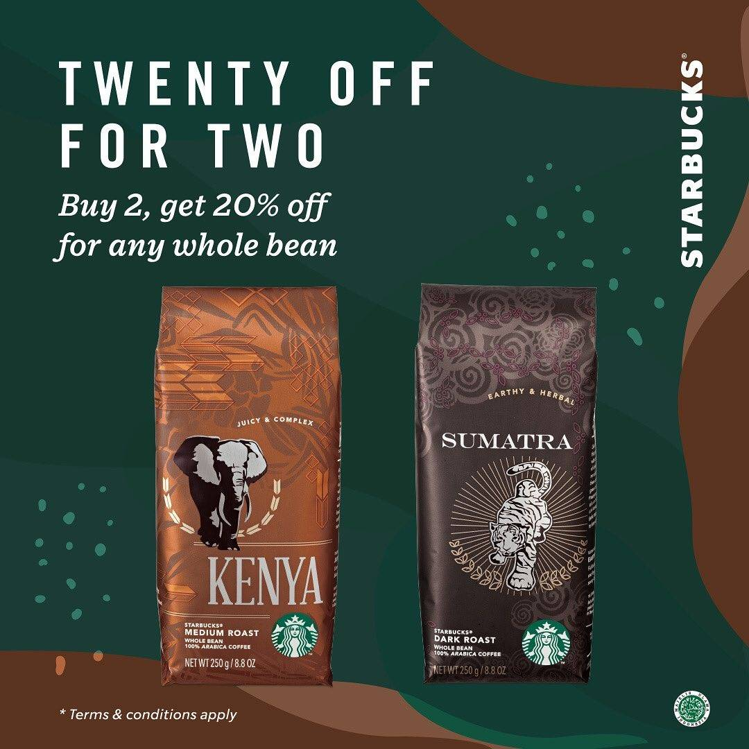 Starbucks Promo Twenty Off For Two, Buy 2 Get 20% Off For Any Whole Bean