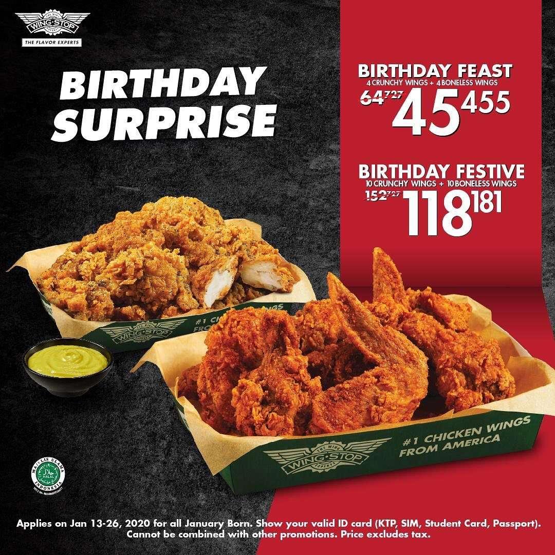 Wingstop Promo Birthday Surprise, Menu Spesial Mulai Rp. 45 Ribuan