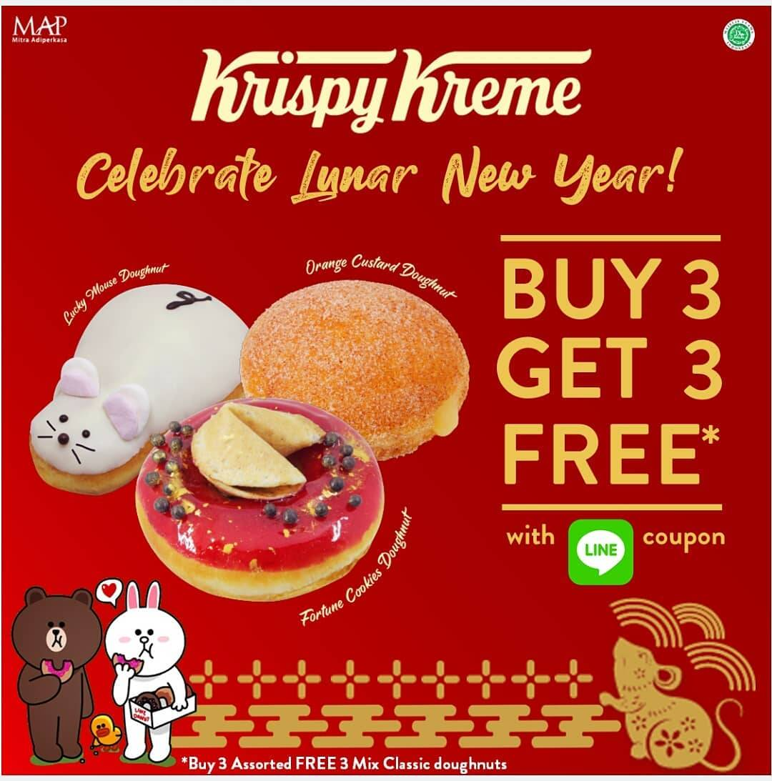 Krispy Kreme Promo Chinese New Year, Buy 3 Get 3 Free