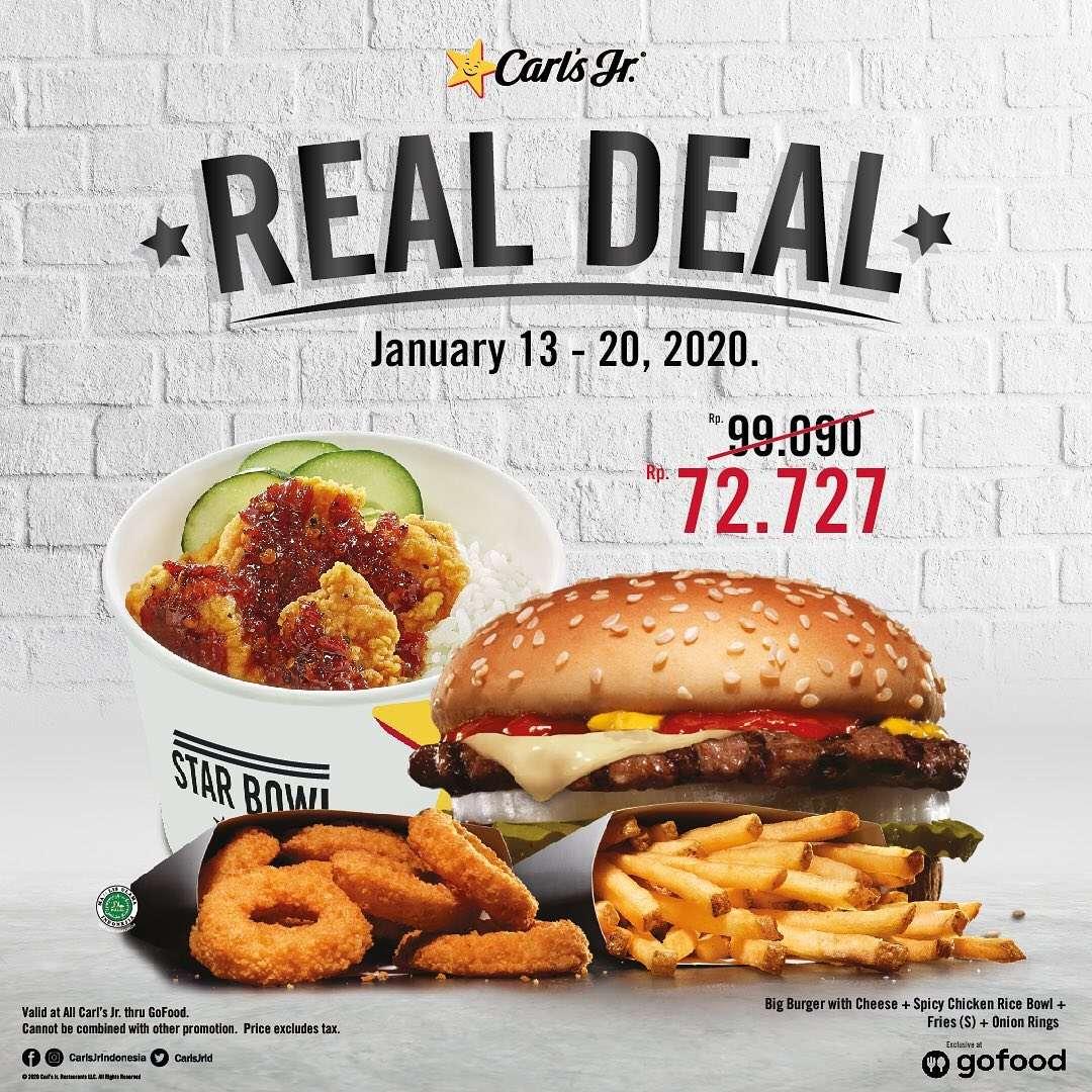 Carls Jr Promo Real Deal Januari, Harga Hanya Rp. 72.727
