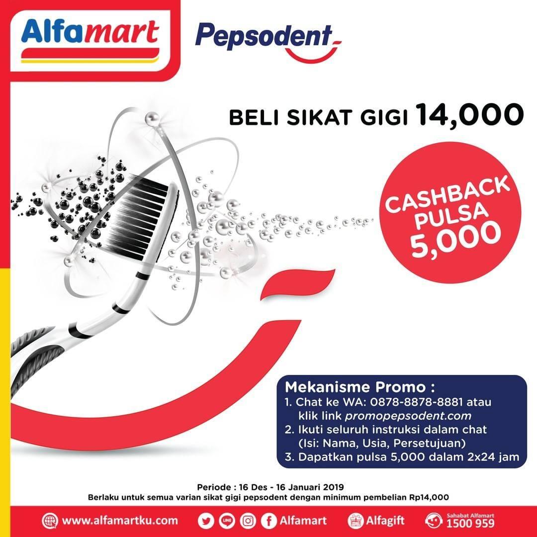Alfamart Promo Beli Sikat Gigi Pepsodent Rp. 14.000 Dapatkan Cashback Pulsa Rp. 5.000