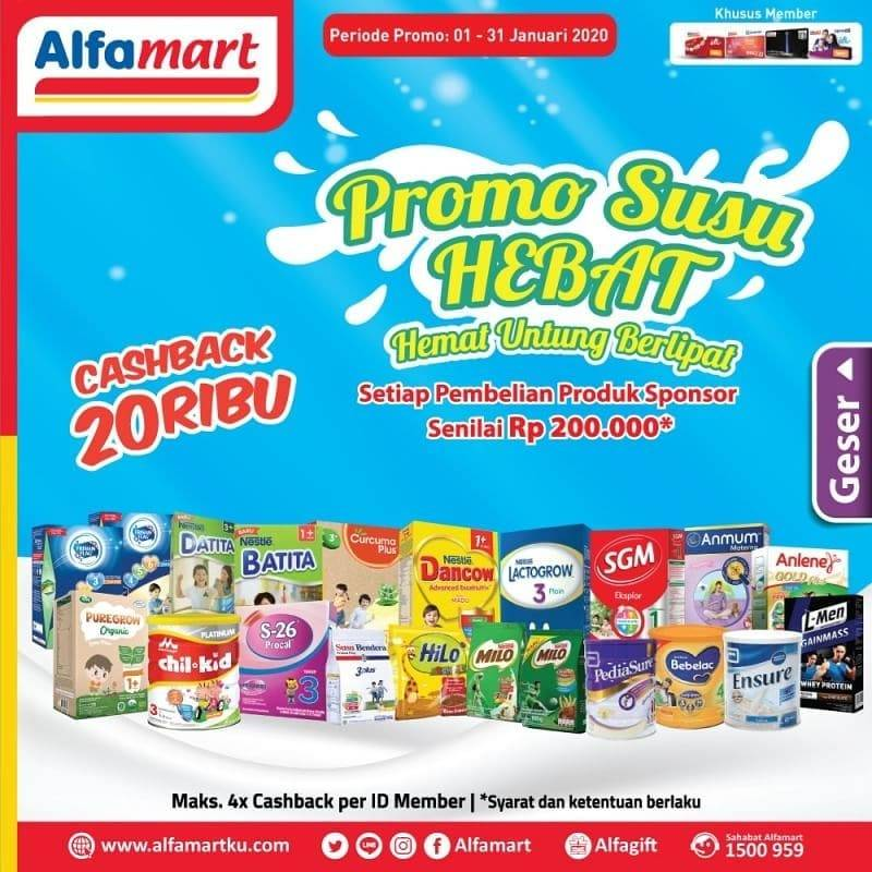 Alfamart Promo Susu Hemat Dapatkan Cashback Rp. 20.000