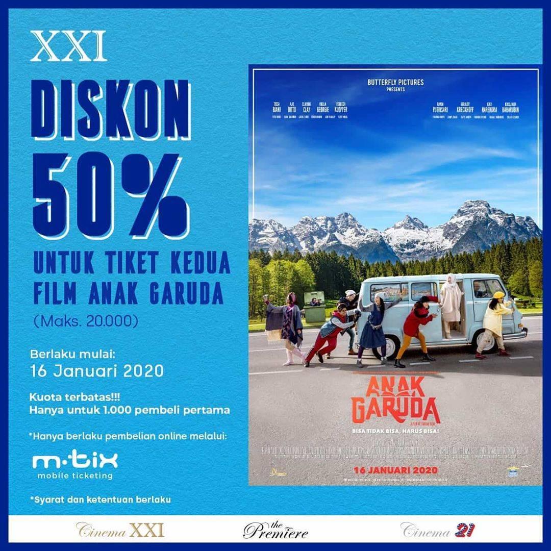 Cinema XXI Promo Diskon 50% Tiket Anak Garuda Untuk Pembelian Melalui M-Tix