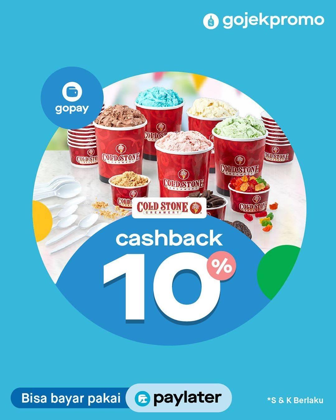 Coldstone Promo Cashback 10% Melalui Gopay