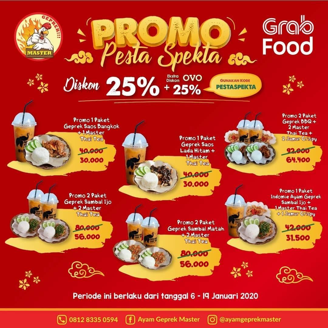 Ayam Geprek Master Promo Pesta Spekta, Diskon 25% + 25% Melalui Grabfood