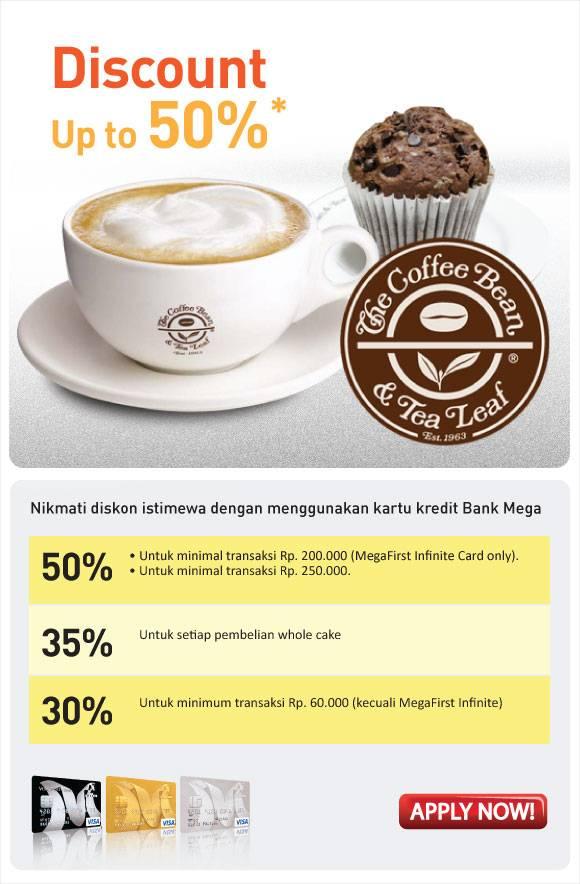 The Coffee Bean & Tea Leaf Promo Diskon Hingga 50% Menggunakan Kartu Kredit Bank Mega