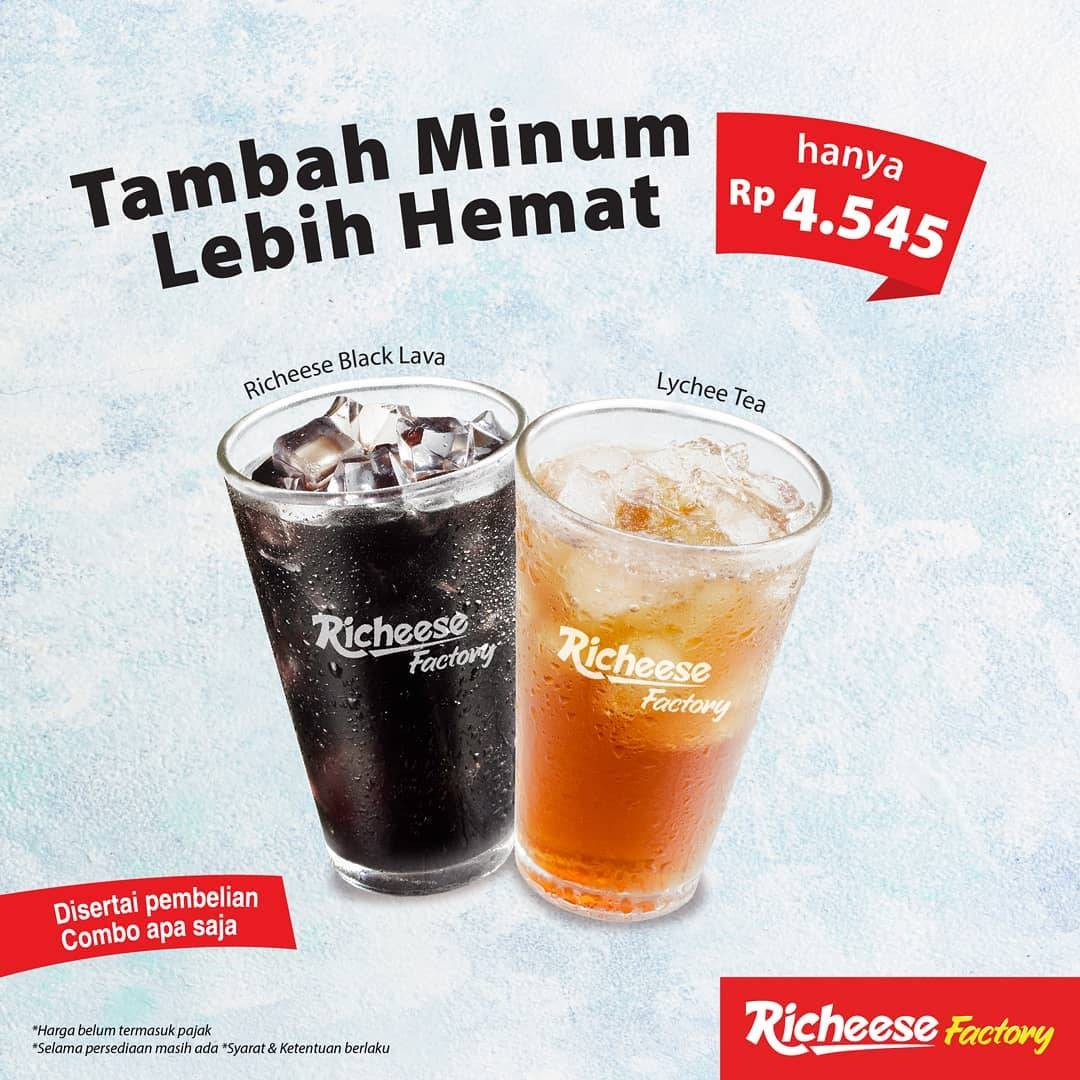 Diskon Richeese Factory Promo Tambah Minum Lebih Hemat Hanya Rp. 4.545