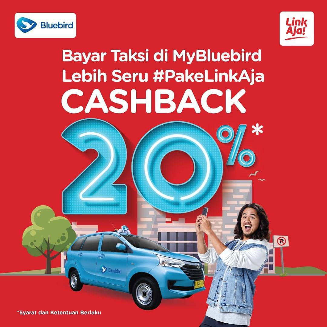 Bluebird Promo Cashback 20% Pembayaran Melalui LinkAja