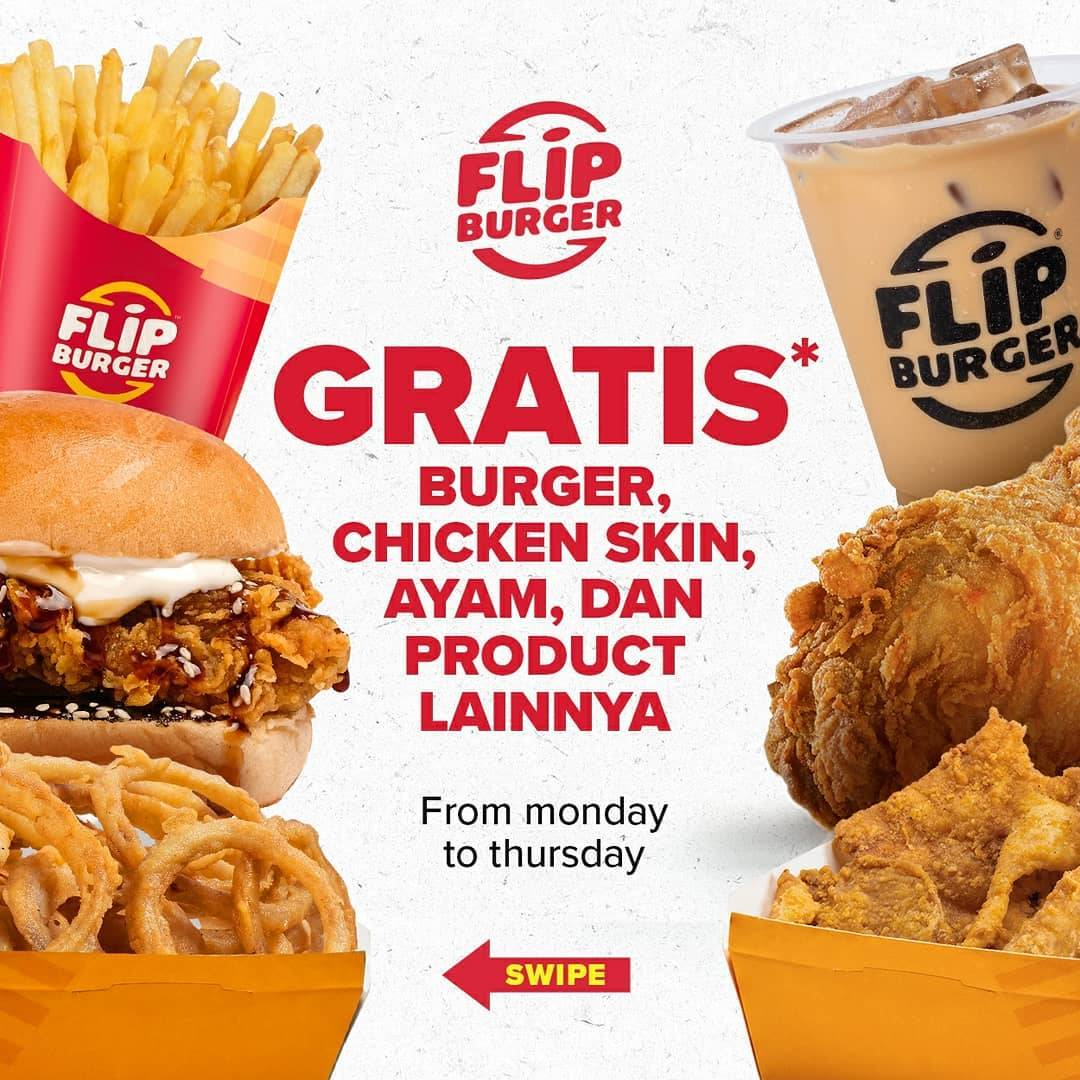 Flip Burger Promo Gratis Menu Pilihan Setiap Hari Senin Sampai Kamis