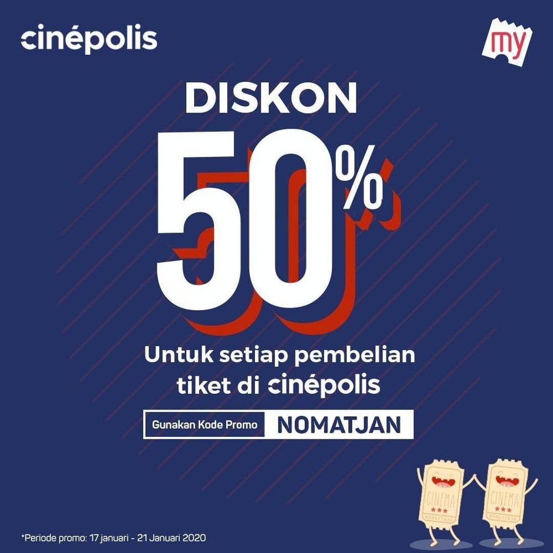 Cinepolis Promo Diskon 50% Pembelian Melalui BookMyShowID App