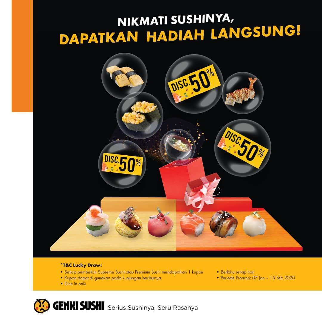 Genki Sushi Promo Kupon Sushi, Diskon 50% Dan Free Menu Pilihan