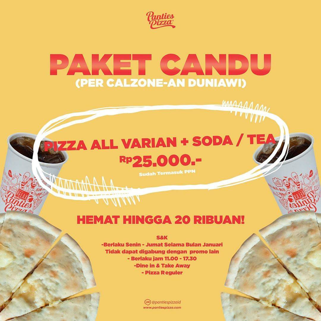 Panties Pizza Promo Pizza All Variant + Soda/Tea Only Rp. 25.000
