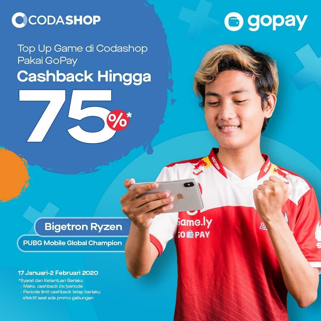 Gopay Promo Codashop, Top Up Game Dapat Cashback 75% Bagi Pengguna Baru