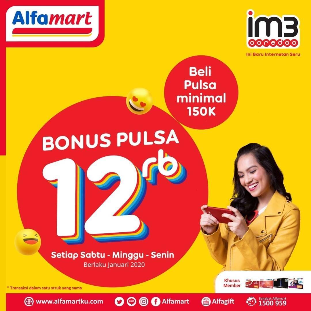 Alfamart Promo Gratis Pulsa Rp. 12.000 Tiap Beli Pulsa Minimal Rp.150.000 IM3 Ooredo