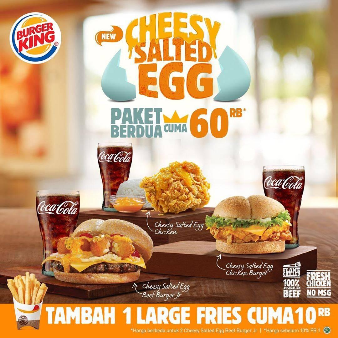Burger King Promo Paket Cheesy Salted Egg Hanya Rp. 60.000