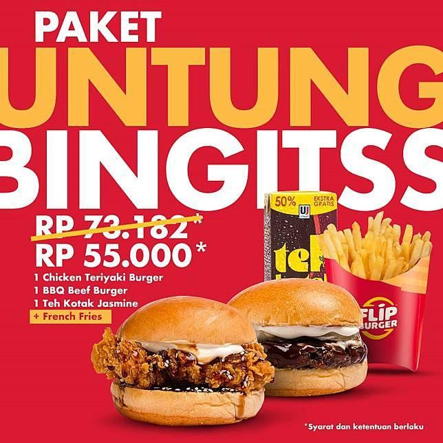 Flip Burger Promo Spesial Untung Bingits Cuma Bayar Rp. 55.000