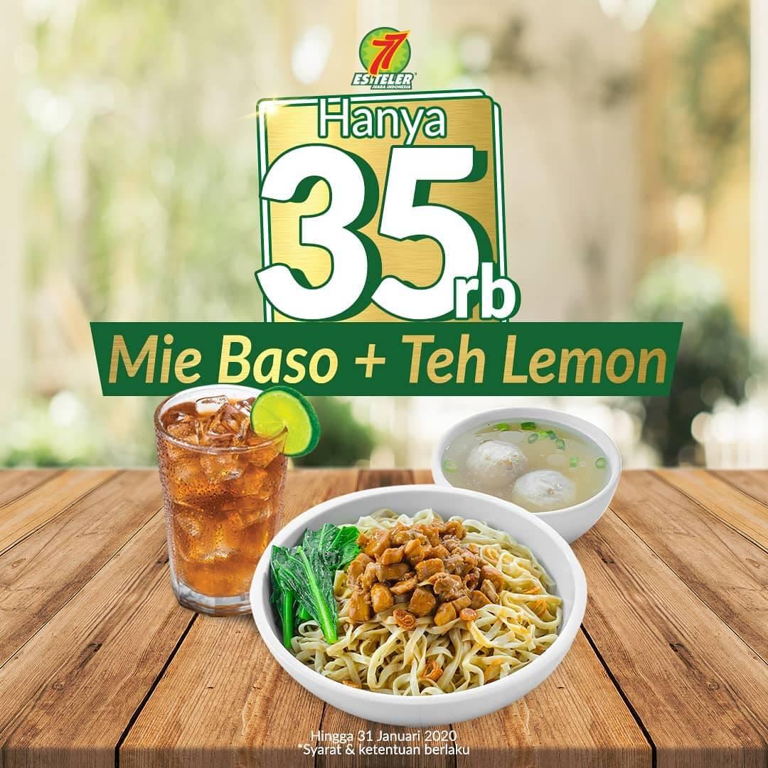 Es Teler 77 Promo Mie Baso + Teh Lemon (Panas/Dingin) Cuma Rp 35.000