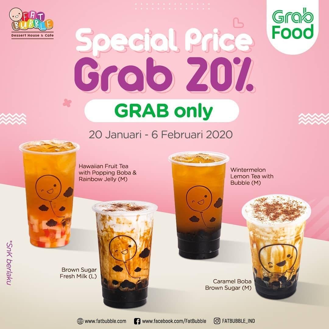 Fat Bubble Promo Discount 20% Untuk Minuman Pilihan Menggunakan Grab Food