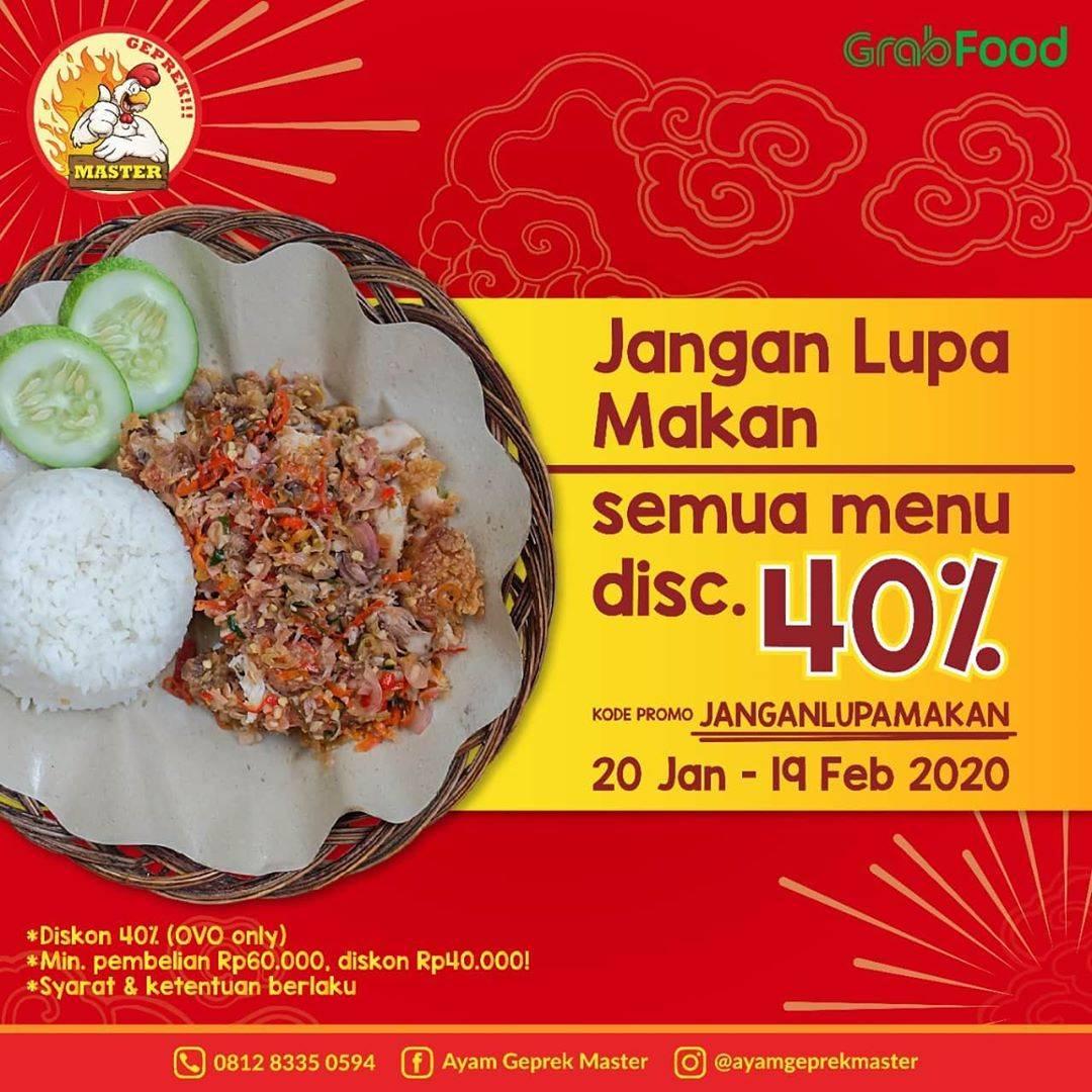 Ayam Geprek Master Promo Grab Food,  Diskon 40% Menggunakan OVO