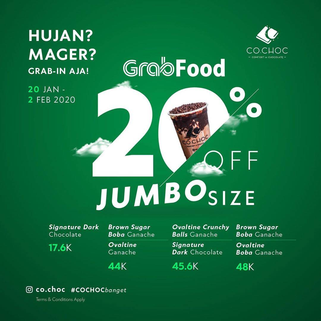 Co.Choc Promo Hemat 20% Untuk Minuman Favorit Pilihan Menggunakan GrabFood