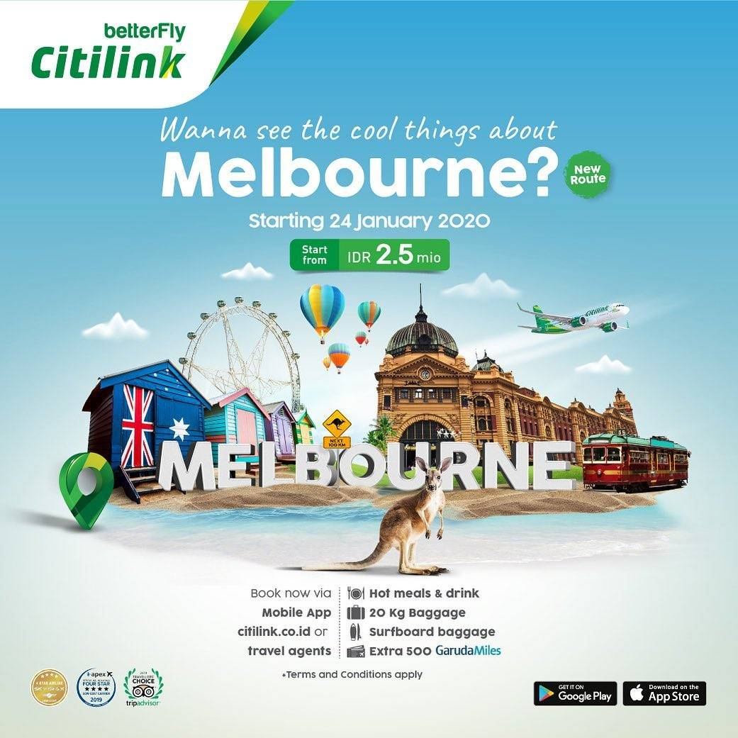 Citilink Promo Rute Denpasar Melbourne Mulai Rp. 2,5juta + Ekstra 500 Miles