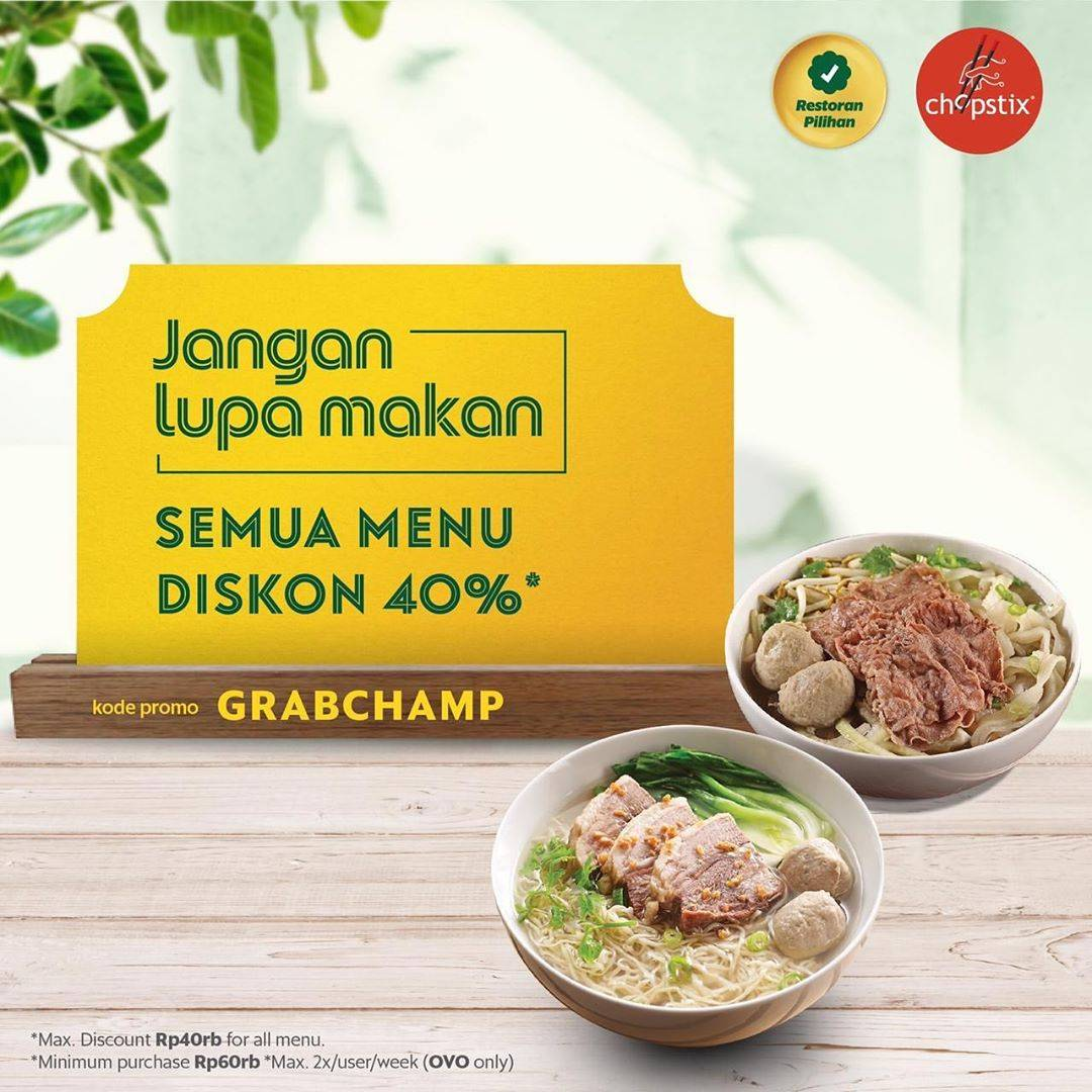 Chopstix Promo Discount 40% Through GrabFood