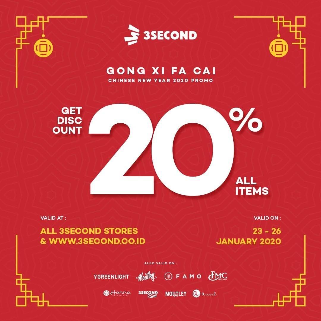 Diskon 3Second Promo Diskon 20%