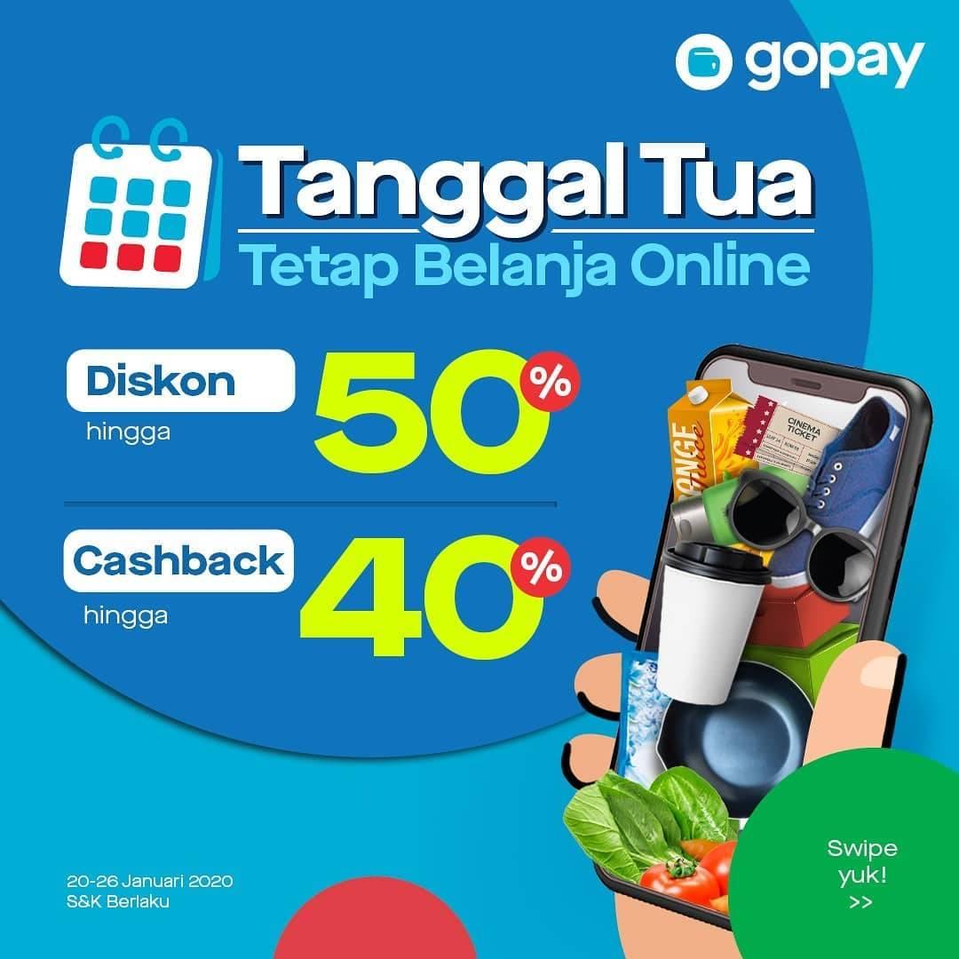 Diskon Gopay Promo Belanja Online Tanggal Tua Januari 2020, Cashback, Diskon Hingga 50%