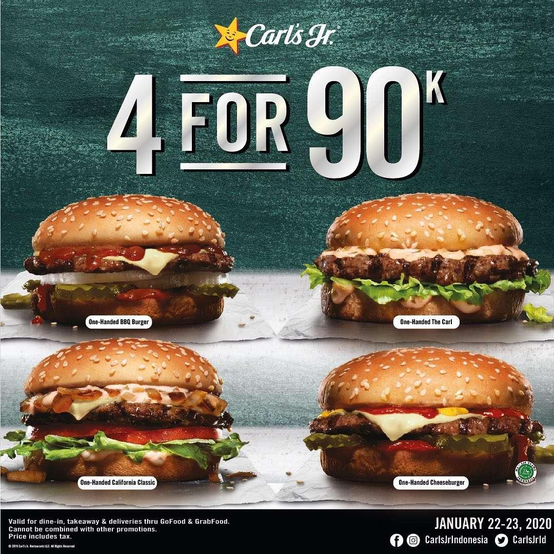 Carls Jr Promo Beli 4 Burger Pilihan Cuma Rp. 90.000