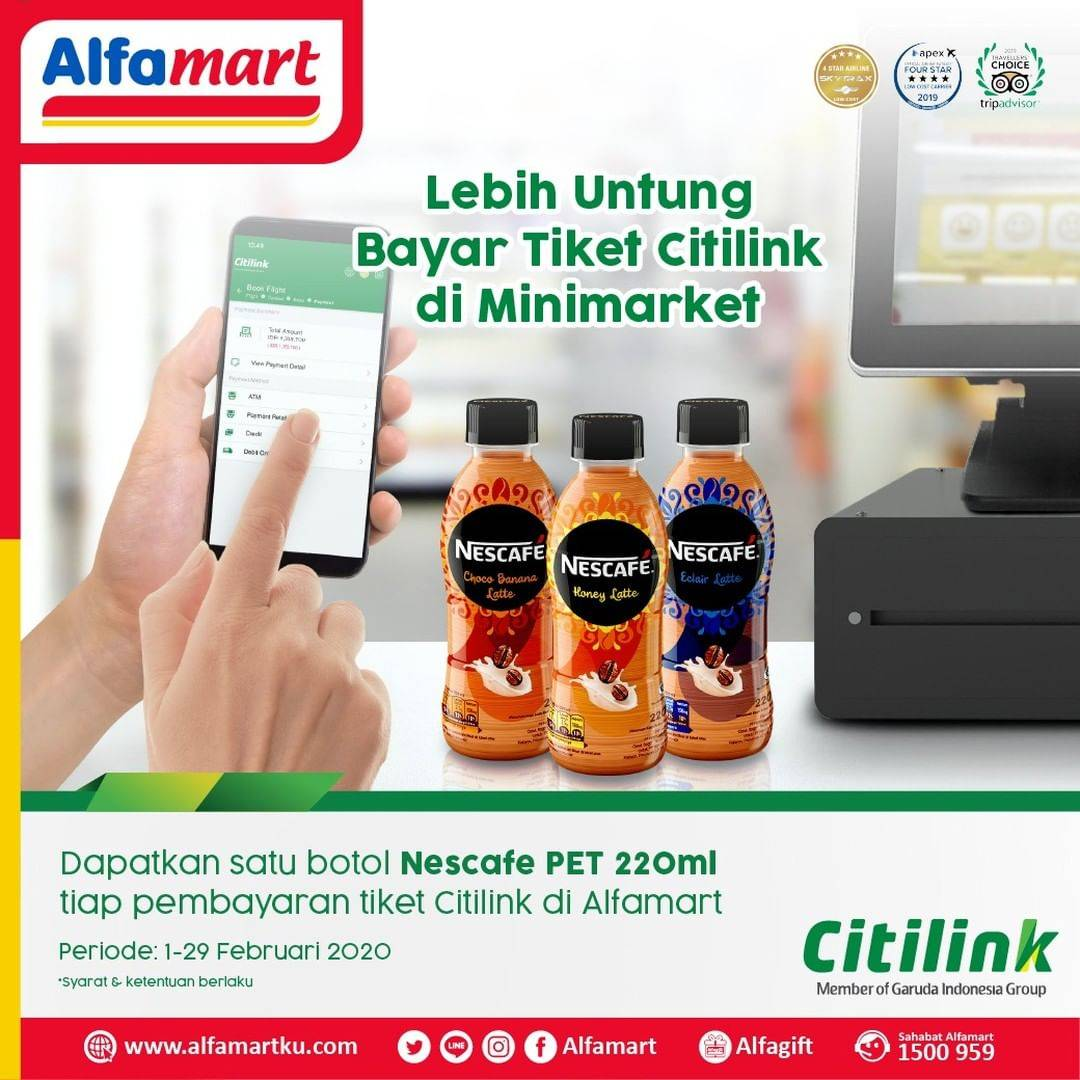 Alfamart Promo Gratis 1 Botol Nescafe Pet 220ml Setiap Bayar Tiket Citilink