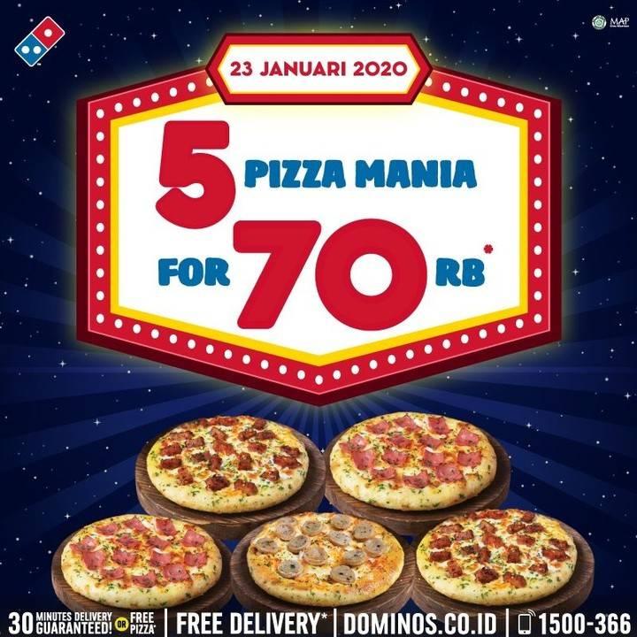 Domino's Pizza Promo Beli 5 Pizza Mania Cuma Rp. 70.000