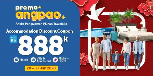 Traveloka Promo Accomodation Discount Coupon Up To Rp. 888.000