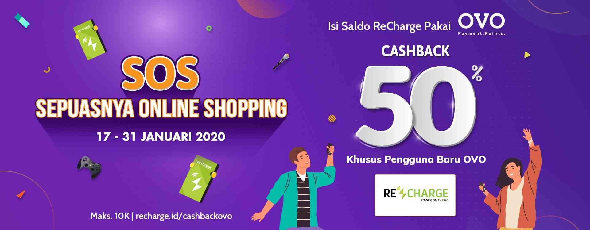 ReCharge Cashback 50% Top Up Saldo Pakai OVO!
