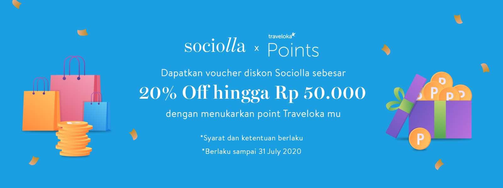 Sociolla Promo Voucher Diskon 20% Dengan Menukarkan Traveloka Point